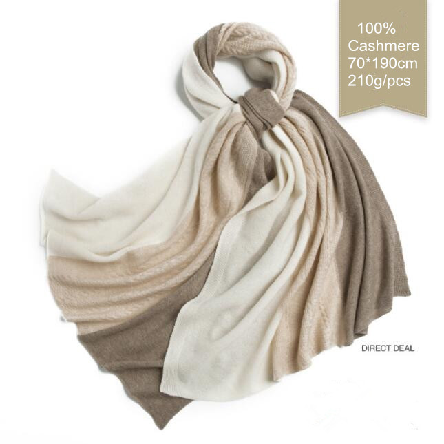 Naizaiga 100% Top Qunlity Cashmere Scarf 3 Knitting Winter Warm 210g Solid Color Mixed Fashion Pashmina ,QYR20