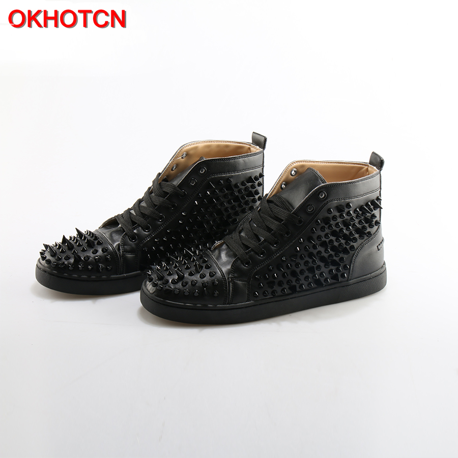OKHOTCN Fashion Lace Up Men Shoes Sapato Masculino Zapatos Hombre High Top Casual Shoes Black Rivets Embellished Flats boots black sequins embellished open back lace up top