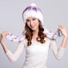 Woman Oversized Winter Gradient Color Stretch Rabbit Fur Bomber Cap Lady Thick M