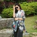 [YWJUNFU] Summer 100% Soft Silk Scarve For Women Bohemia Print Cover-ups Lady Chiffon Long Shawls 150*200cm Girls Beach Scarves