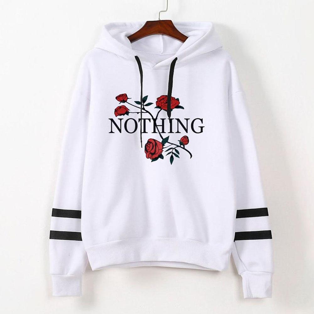 New Rose Fashion Clothes Hoodie Valentine Women Sweatshirt Hoodies Women Love Black Plus Size Korean Gothic