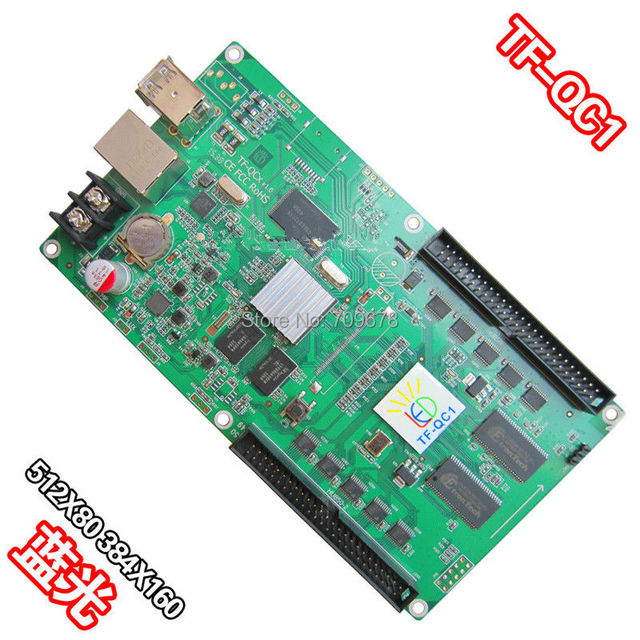 LongGreat  TF-QC1 USB-disk +Ethernet Ports Full-color LED Video Control Card with 10x HUB75 Outputs Support 512x80 Pixels