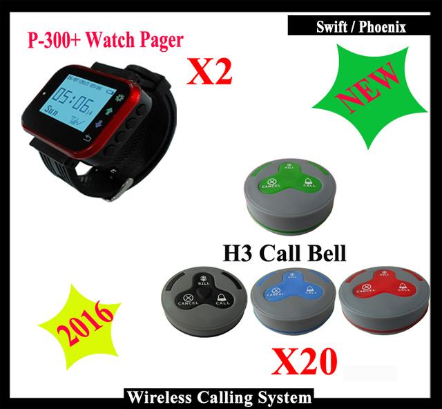 Buen Rendimiento sistema de llamada del camarero inalámbrica pcs K-300plus Reloj Localizador + 20 unids Restaurante K-H3 botón del timbre