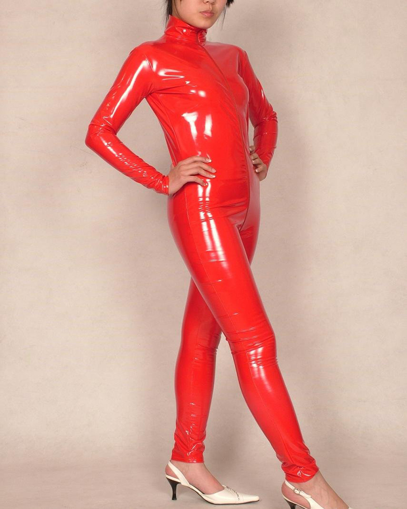 Rouge Latex PVC body Zentai costume Look mouillé Catsuit adulte taille Coatume S M L XL XXL Cos