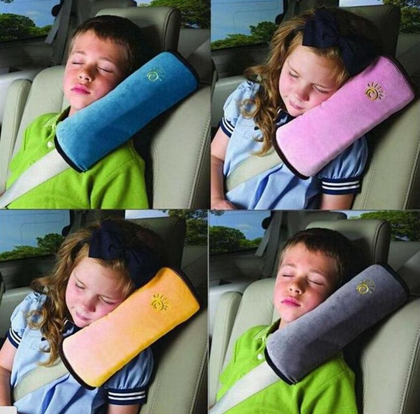 Car Seat Belt Pillow for Children Adjust Shoulder Pad Safety Strap Cushion Beige