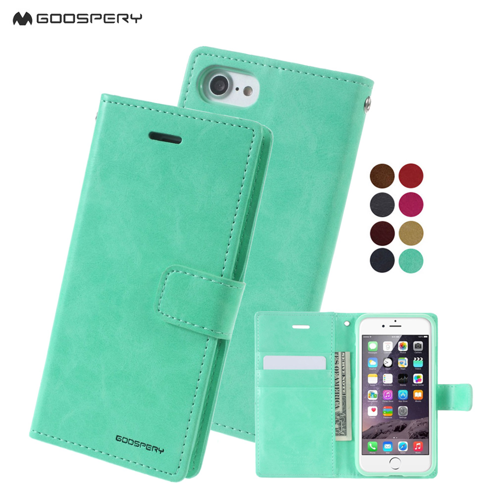 Original Mercury Goospery Blue Moon Diary Pu Leather Magnet Flip Iphone X Case Mint For Iphone7 7plus Phone Stand Cover