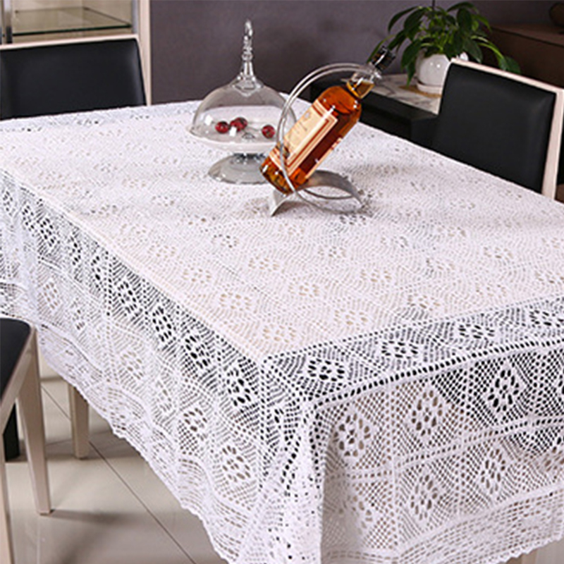 White Lace Wedding Tablecloths Linens Decoration Ransparent Table Covers  Hollow Plaid Embroidered Round Tablecloth Vintage  In Tablecloths From Home  ...