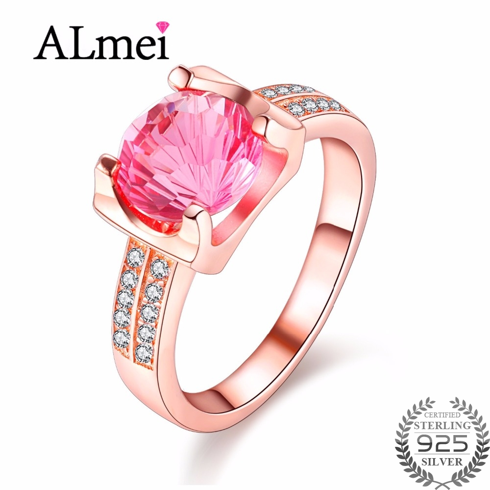 Almei Pink Topaz Wedding Rings for Women Made of Natural Stones ...