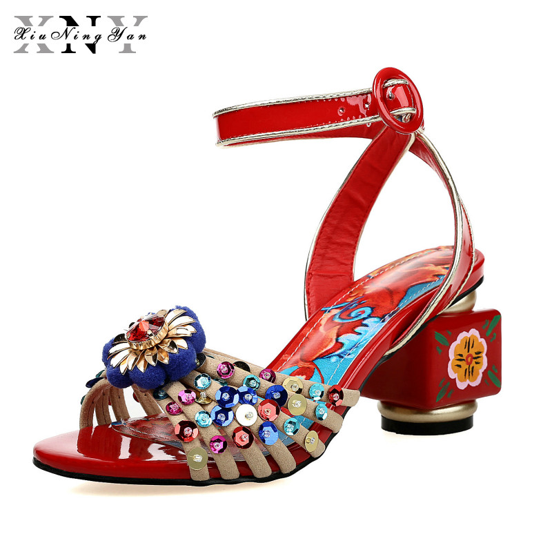 XiuNingYan Brand 2019 Women Sandals Summer Shoes Flowers Buckle Ankle Strap Beading Crystal Print Genuine Leather