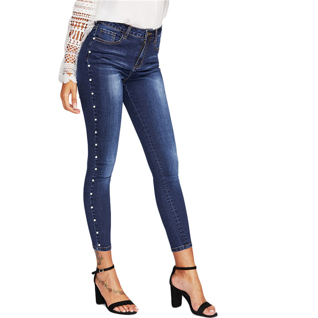 015c26d14a6 Fashion Plus Size Pearls Jeans Pants High Waist Skinny Jeans Blue Thin  Pearl Embellished Jeans Push