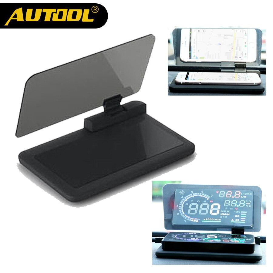 AUTOOL H6 Universal OBD HUD Base de la pantalla coche GPS Navigator para proyector soporte Autos teléfono sosteniendo Rack