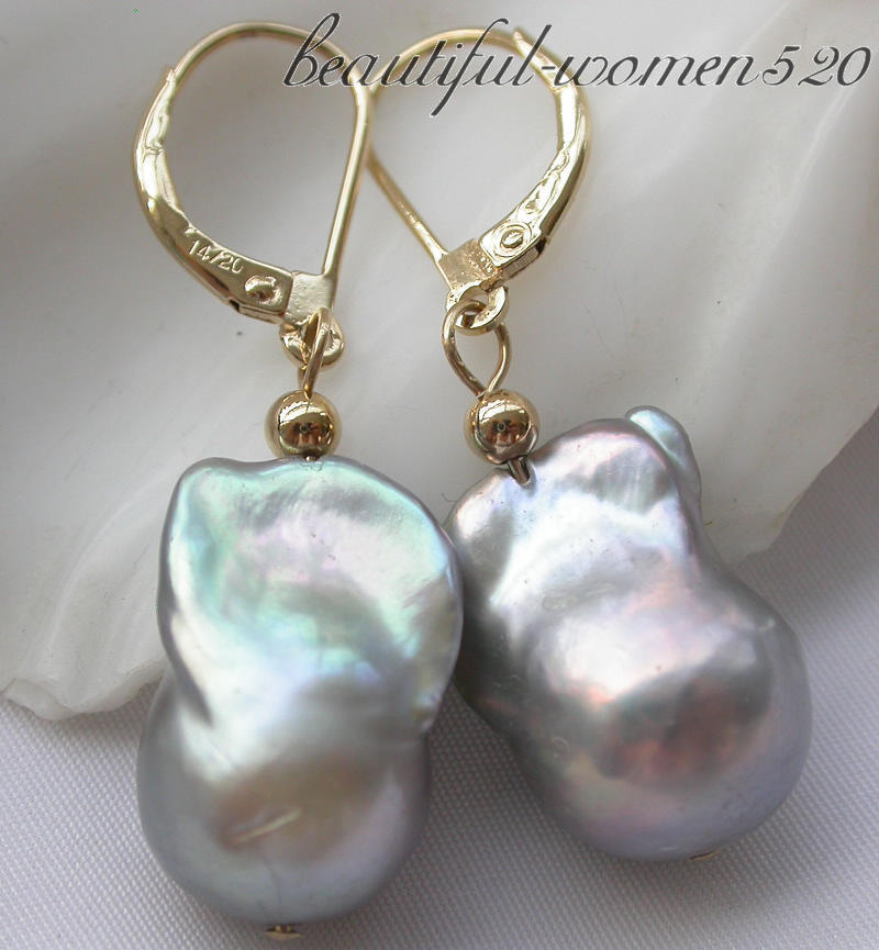 Z3494 18mm Gray baroque keshi reborn pearl dangle earrings