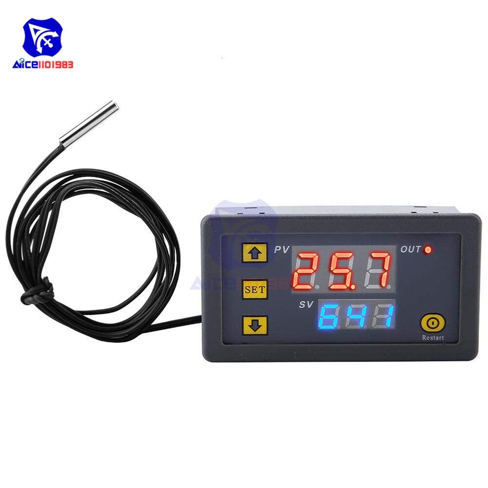 W3230 DC 12 В 24 В 220 В двойной светодиодный цифровой регулятор температуры термостат переключатель сенсор метр с NTC термостат датчик зонда