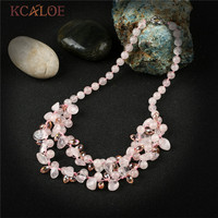 KCALOE Fashion Pink Quartz Necklaces & Pendants Transparent Crystal Irregular Natural Stone Handmade Pendant Necklace For Women