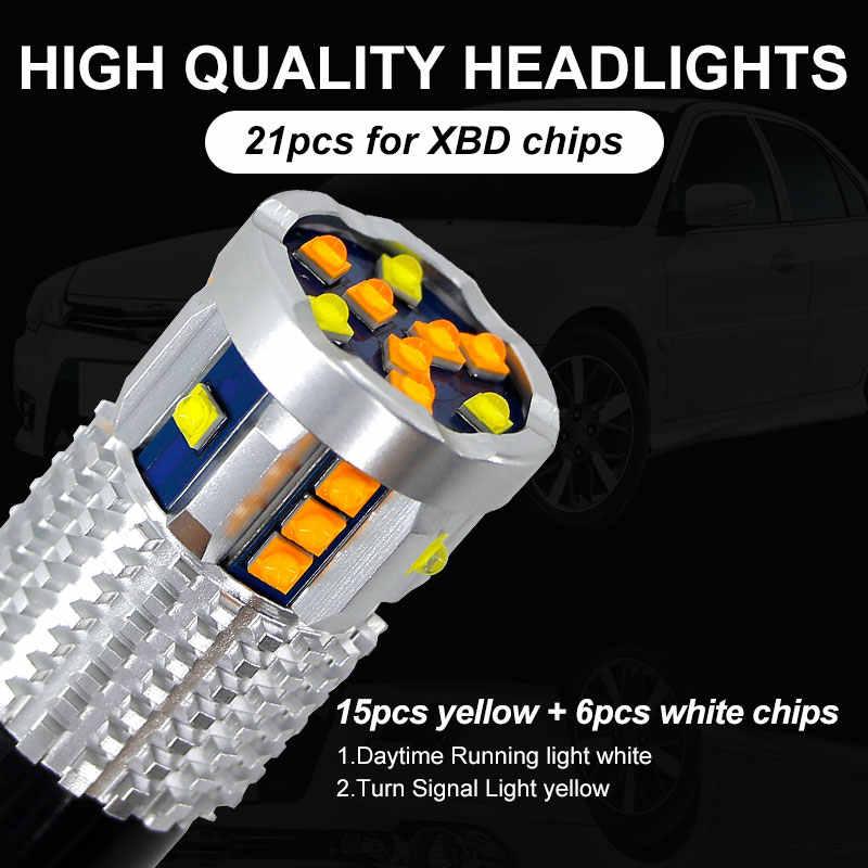 2 Pcs CANBUS Putih/Amber Daya Tinggi 3157 Switchback 12V 3155 T25 LED Lampu untuk Siang Hari/ lampu Sein