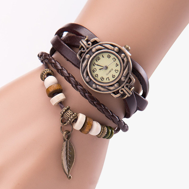 Hot Sales Vintage leaf Pendant Leather Bracelet Watch women ladies men fashion d