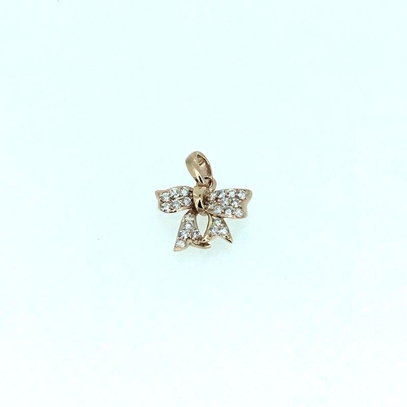 ANI 14 K Rose/blanc/or jaune (AU750) pendentif de mariage 0.261 ct I-J/SI diamant naturel 3 couleurs pour les femmes noeud papillon forme collierANI 14 K Rose/blanc/or jaune (AU750) pendentif de mariage 0.261 ct I-J/SI diamant naturel 3 couleurs pour les femmes noeud papillon forme collier