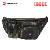 Swisswin Brand Casual Waist Pack Waterproof Motorcycle Fanny Pack Multi Pocket Camouflage Green Waist Pack