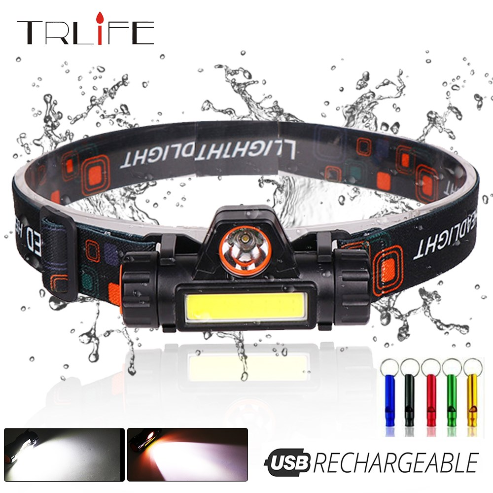 USB Rechargeable LED Headlamp XPE+COB Work Light 2 Lighting Modes With Tail Magnet Detachable Headlight For Camping, Adventure