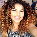Malaysian Kinky Curly Hair With Closure 1B/30 Ombre Hair Extensions With Closure 4Pcs Kinky Curly Virgin Hair Weft With Closure