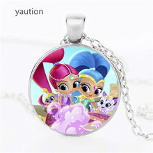 2017 New Arrival Shimmer and Shine Necklace Glass Dome Anime Jewelry Art Photo Pendant Necklace for Children Gift(China)