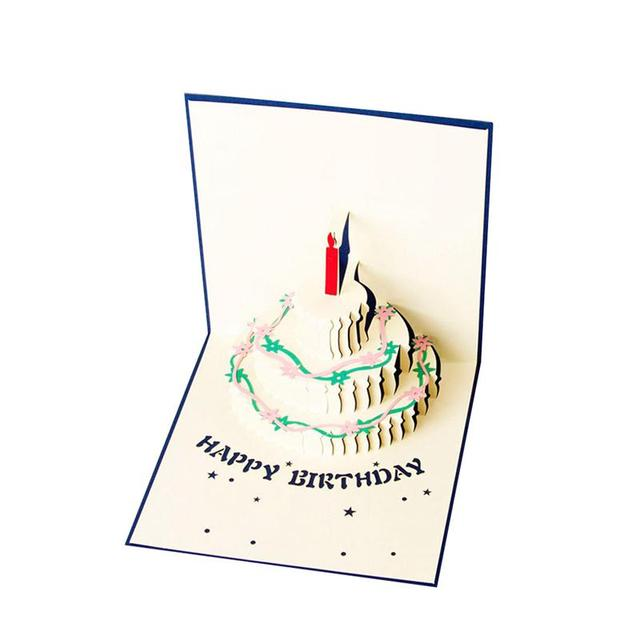 2017 New Fashion 3d Happy Birthday Cake Pop Up Greeting Cards Blue