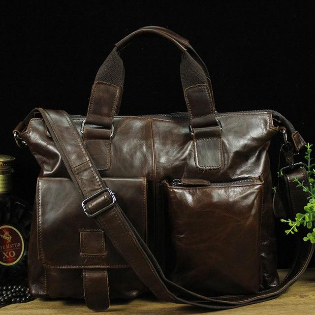 Men's Casual Briefcase Business Shoulder Genuine Leather Bag Men Messenger Bags Computer Laptop Handbag Bag Tote  16 Inch