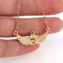 hzew cute Angel wings dog cat Paw claw pendant necklace Angel necklaces angel wings rhinestone teardrop necklace