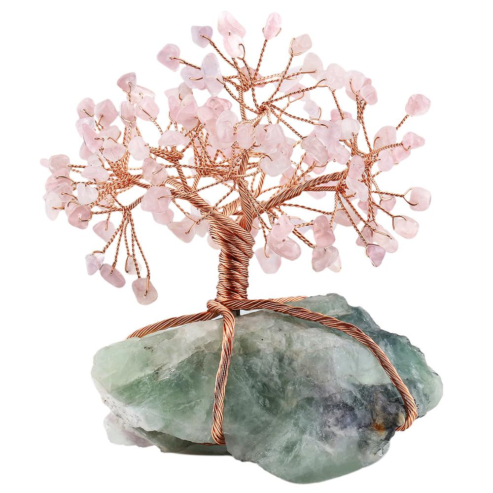 Natural Raw Fluorite Base Copper Wire Wrapped Rose Quartz Chips Stone Money Tree Bonsai Lucky Feng Shui Figurine Ornament