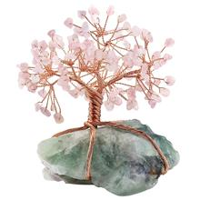 Купить с кэшбэком Natural Raw Fluorite Base Copper Wire Wrapped Rose Quartz Chips Stone Money Tree Bonsai Lucky Feng Shui Figurine Ornament