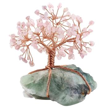 Natural Raw Fluorite Base Copper Wire Wrapped Rose Quartz Chips Stone Money Tree Bonsai Lucky Feng Shui Figurine Ornament skull figurine natural stone yellow tiger eye crystal carved statue realistic feng shui healing ornament art collectible 2