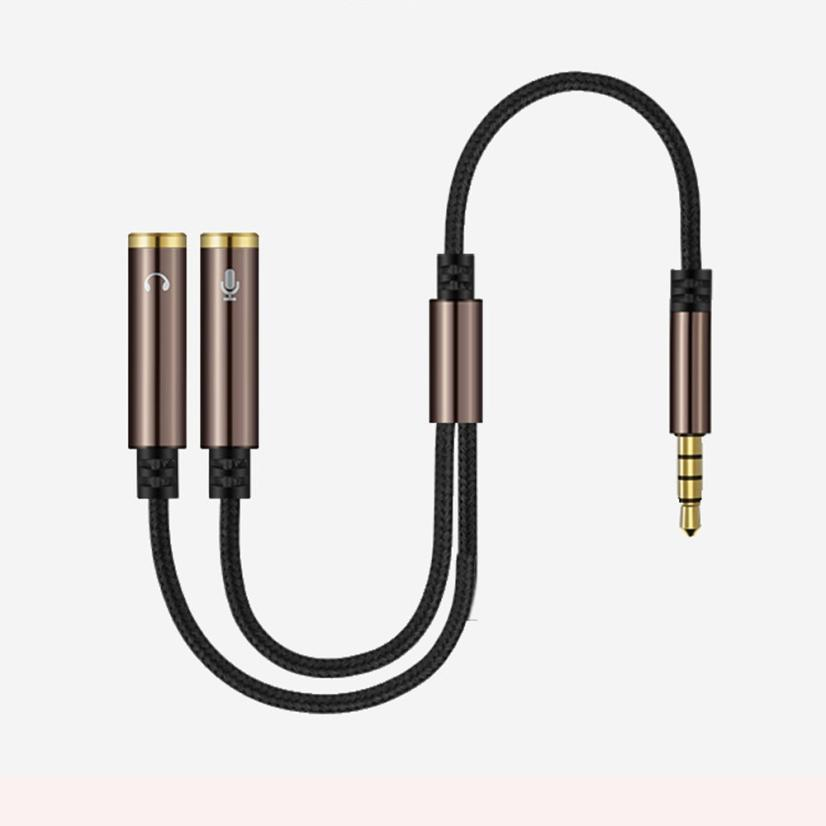 3.5mm 1 To 2 Dual Y Audio Headset Jack Splitter Share Cable Adapter Golden Connector Earpiece for Earphone Headphone