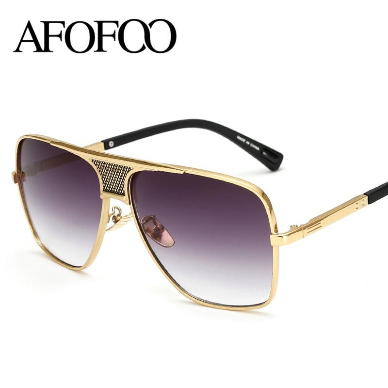 AFOFOO Mode lunettes de Soleil Vintage Hommes Lunettes De Soleil De Luxe  Marque Designer Femmes Gradient lunettes de Soleil UV400 Shades Lunettes 48d5cd55032f