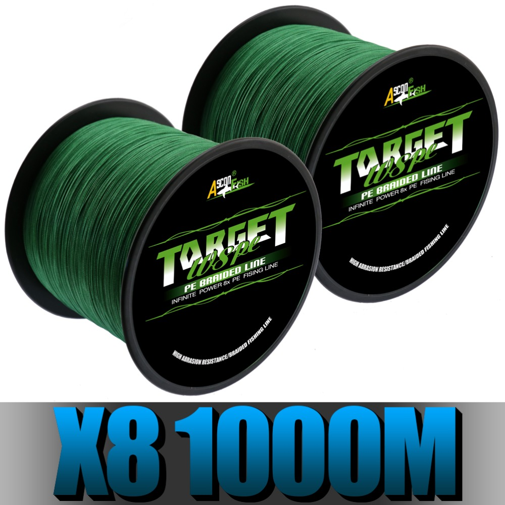 Ascon Fish Ultra Strong 8 Strand Braided Fishing Line 1000 m 1094 yd 8 Braids Multifilament Line Green 50 LB 80 LB 100 LB 300 LB boxpop lb 002 45