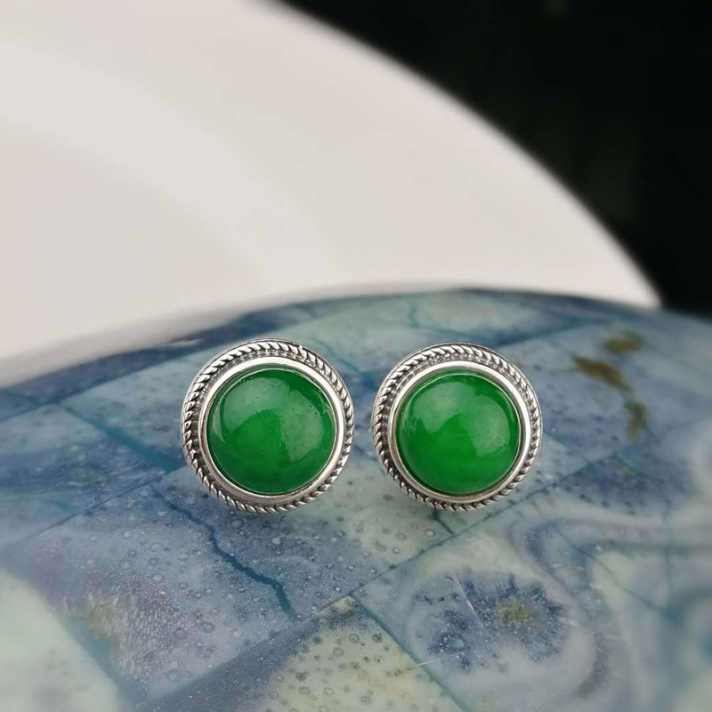 925 Sterling Silver Earrings Natural Stone Jade Vintage Stud Earrings For Women Christmas Jewelry Boucle D'Oreille Femme