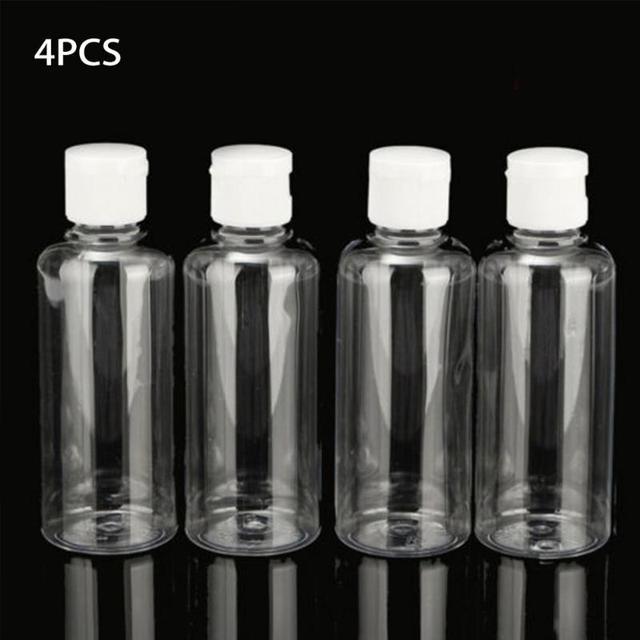 4pcs/set 100ml Empty Squeeze Jar Multifunctional Makeup Container Bottle Plastic Travel Clear Empty Save Space