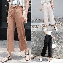 2018 New Summer Fashion Lady Wide Leg Chiffon Pants High Waist Long Loose Palazzo Pants Culottes Trousers Women Pants Pantalones