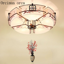 New Chinese style modern warm ceiling lamp living room bedroom study personalized retro round fabric ceiling lamp
