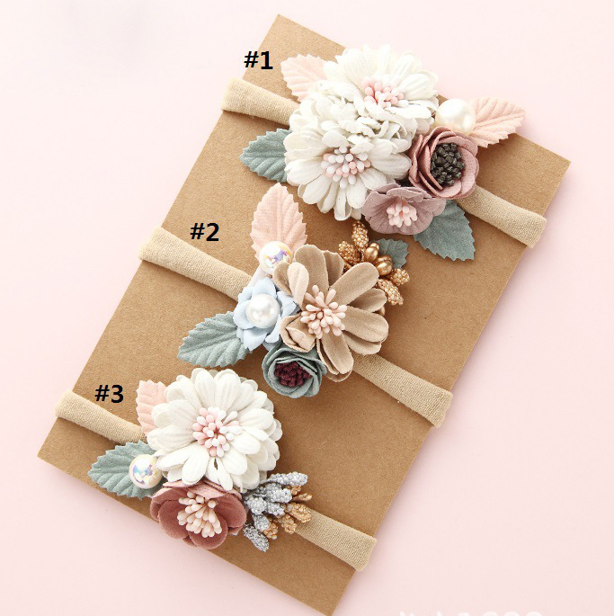 15pcs lot Boutique Princess Fabric Flower With Nylon Headband for Girls Kids Flower Headbands Girl s