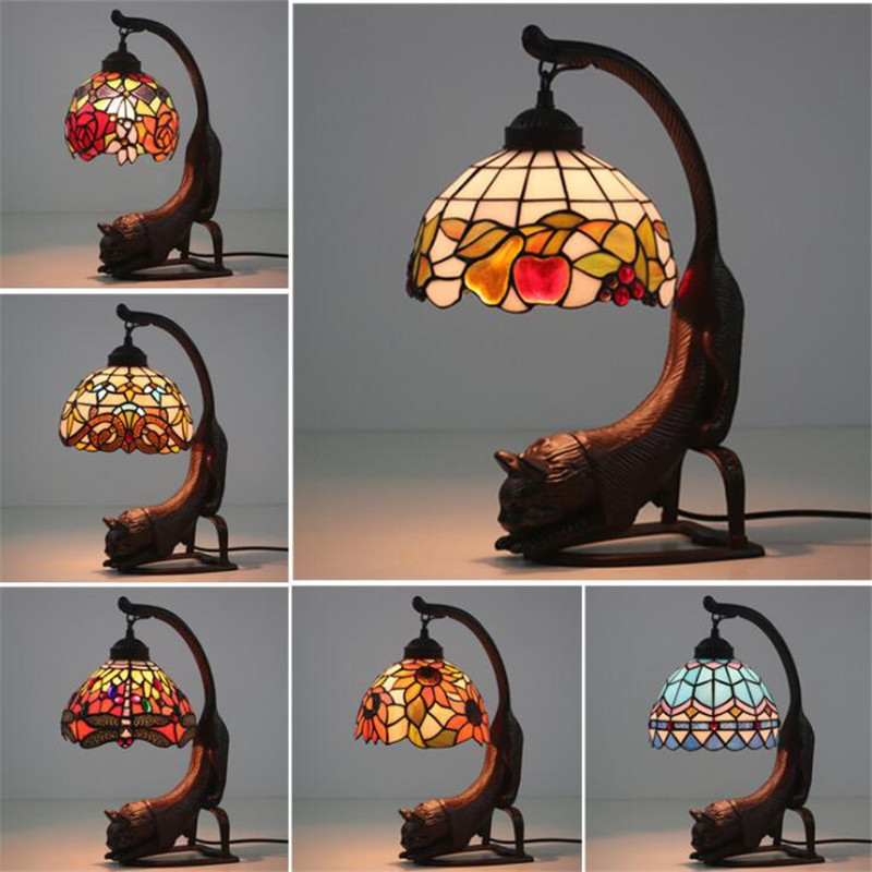 Vintage Exotic Handmade Cat Base Glass Tiffany Table Lamp for Foyer Bed Room Bar Apartment Glass Reading Light H 40cm 1065|LED Table Lamps| |  -