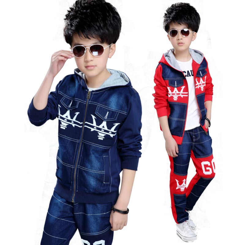 Children Boys Clothes Set Sports Suits Winter Kids Clothing Spring and Autumn Two Piece Sets Zipper Jacket + Trousers 5-12T