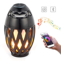 Bluetooth Speaker USB Charge Led Flame Lights Atmosphere Flame Table Lamp Music Night Light Outdoor Portable Stereo Speaker