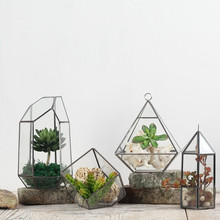 Creative polygon glass ornaments glass greenhouse potted decorative geometric glass flower vase free shipping