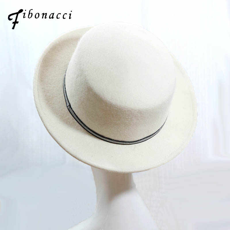 44e2a988fc0 Fibonacci 2018 New Brand Quality Fedora Flat Top White Wool Felt Hats  Ladies Autumn Winter Vintage