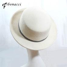 Fibonacci 2018 nueva marca de calidad Fedora plana superior de lana blanca  sombreros de fieltro señoras Otoño Invierno Vintage T.. 72047df5f23