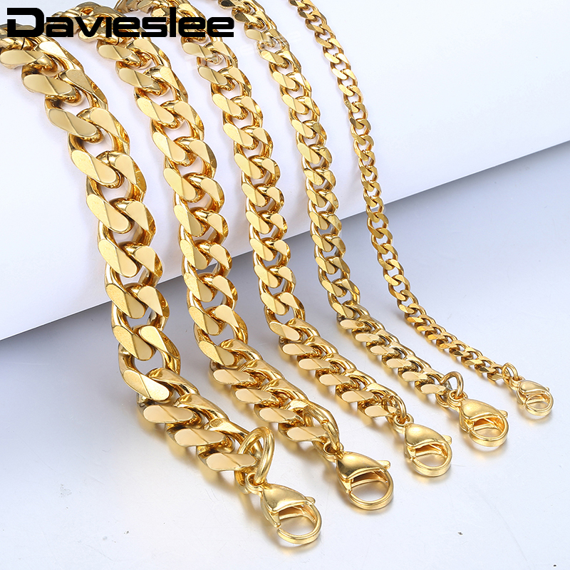Bracelet for Men Women Curb Cuban Link Chain Stainless Steel Mens Womens Bracelets Chains Davieslee Jewelry for Men DLKBM05 HTB1WdagHKSSBuNjy0Flq6zBpVXaQ