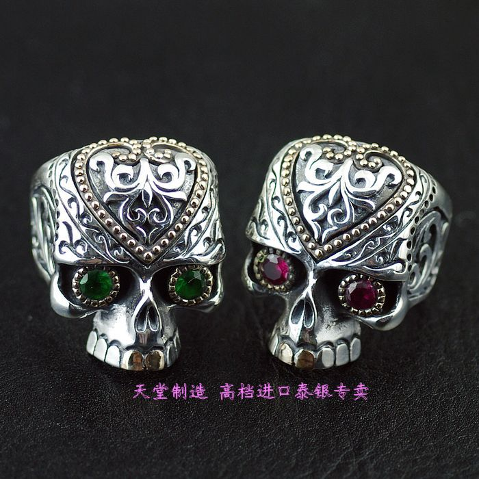 925 pure silver skeleton skull blood gorgeous thai silver ring thailand imports skull blood new skeleton silver ring