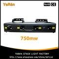 750 mw Professional Stage Iluminação laser 4 Cabeças 4 Lens 4 cores RGPB DJ Laser Light Show Boca de som ativa, DMX, Manual
