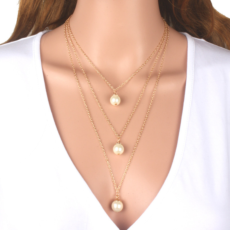 New Fashion 3 Multi Layer statement Necklace Simulated Pearl ...