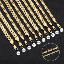 Top Quality 316l Surgical Steel Gold Color 9mm 7mm Wide 45-70cm Long Necklace Fashion Jewelry For Men Steampunk Rock Collars